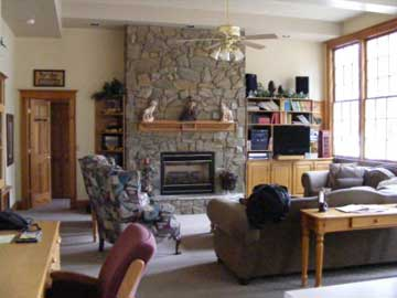 Great room with fabulous stone fireplace